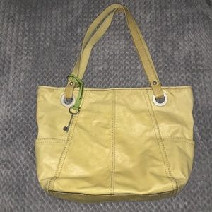 Fossil yellow leather tote